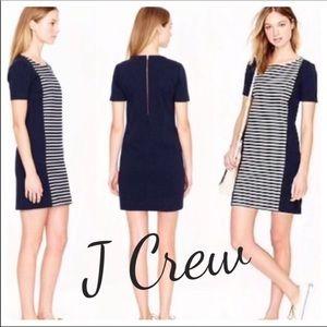 J Crew Navy Shift Dress Striped Front Detail SZ 2